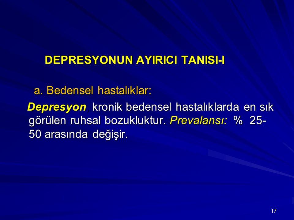 DEPRESYONUN AYIRICI TANISI-I a. Bedensel hastalıklar:
