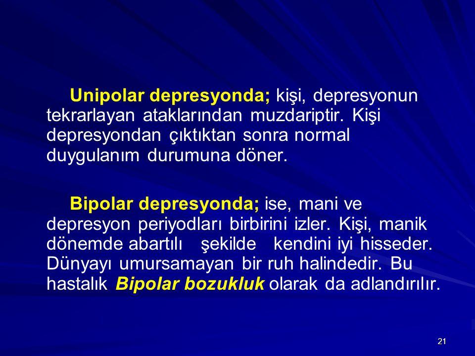 Unipolar depresyonda; kişi, depresyonun tekrarlayan ataklarından muzdariptir. Kişi depresyondan çıktıktan sonra normal duygulanım durumuna döner.