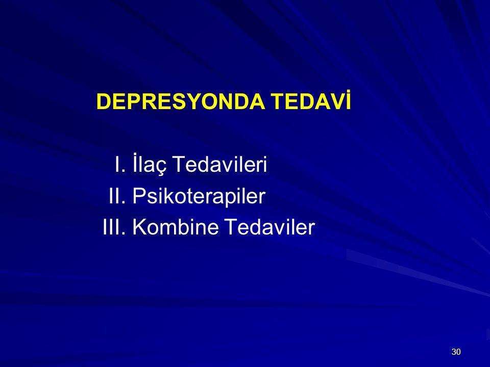 DEPRESYONDA TEDAVİ I. İlaç Tedavileri II. Psikoterapiler III. Kombine Tedaviler