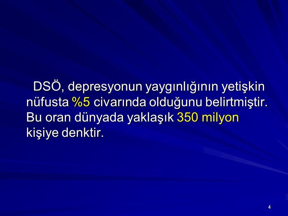 DSÖ, depresyonun yaygınlığının yetişkin nüfusta %5 civarında olduğunu belirtmiştir.