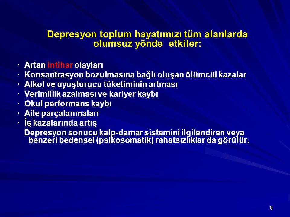 Depresyon toplum hayatımızı tüm alanlarda olumsuz yönde etkiler: