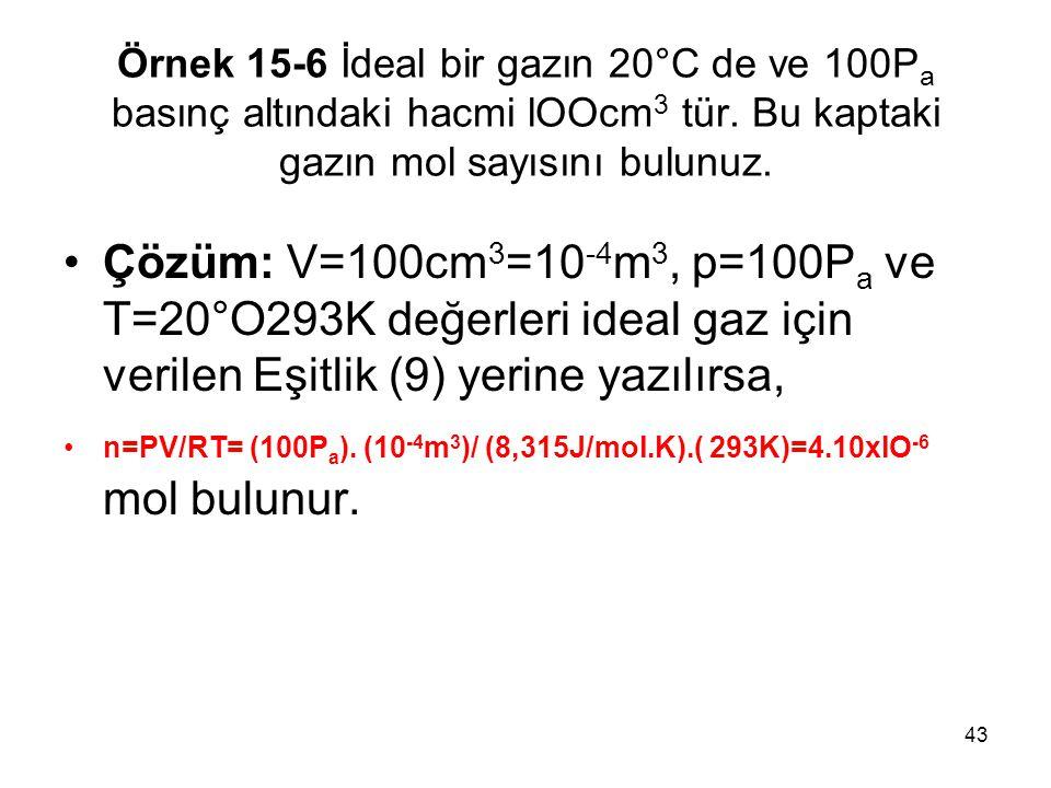 Örnek 15-6 İdeal bir gazın 20°C de ve 100Pa basınç altındaki hacmi lOOcm3 tür. Bu kaptaki gazın mol sayısını bulunuz.