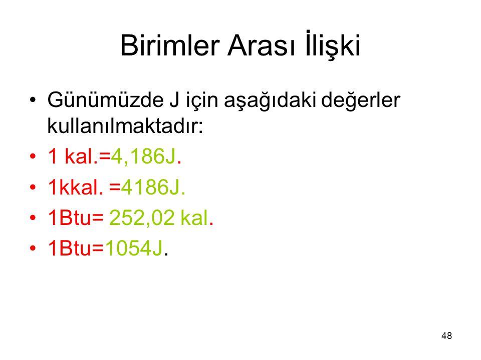 Birimler Arası İlişki Günümüzde J için aşağıdaki değerler kullanılmaktadır: 1 kal.=4,186J. 1kkal. =4186J.
