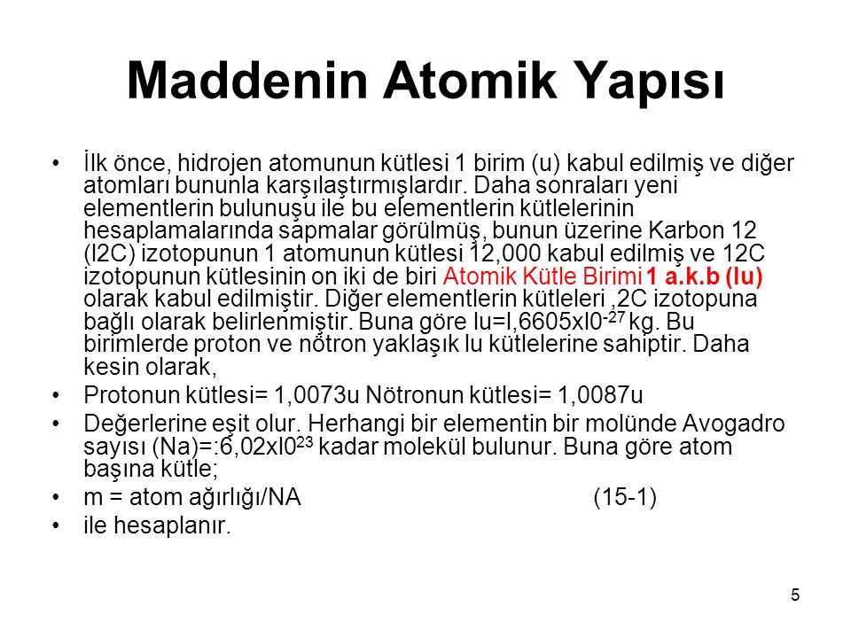 Maddenin Atomik Yapısı