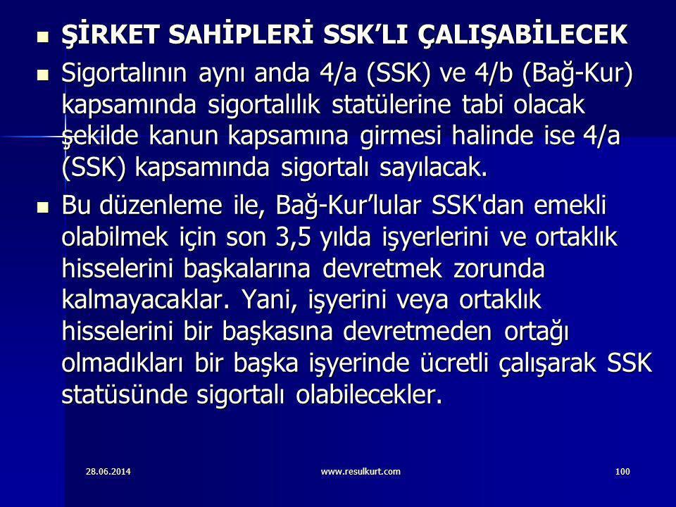 ŞİRKET SAHİPLERİ SSK'LI ÇALIŞABİLECEK