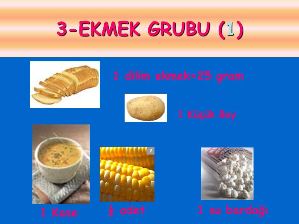 3-EKMEK GRUBU (1) 1 dilim ekmek=25 gram ½ adet 1 su bardağı 1 Kase