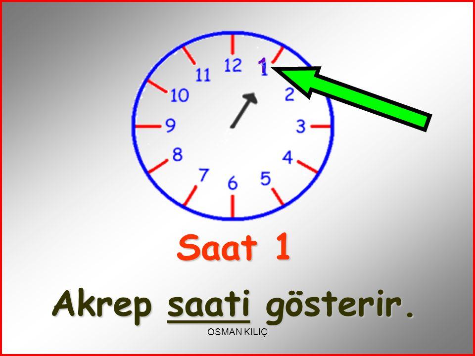 Saat 1 Akrep saati gösterir.