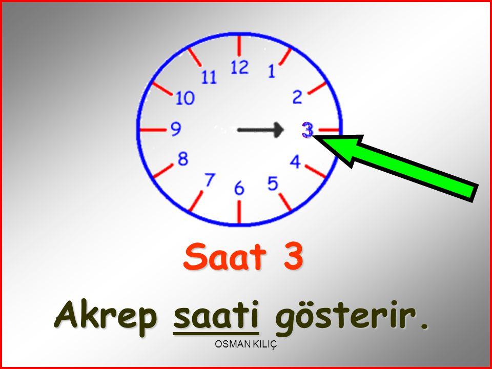 Saat 3 Akrep saati gösterir.