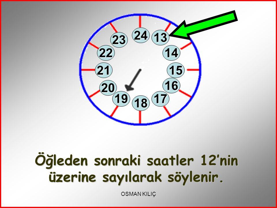Öğleden sonraki saatler 12'nin üzerine sayılarak söylenir.