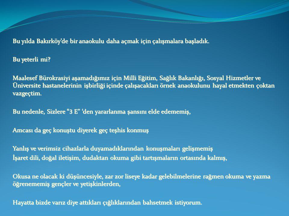 Bu yılda Bakırköy'de bir anaokulu daha açmak için çalışmalara başladık.
