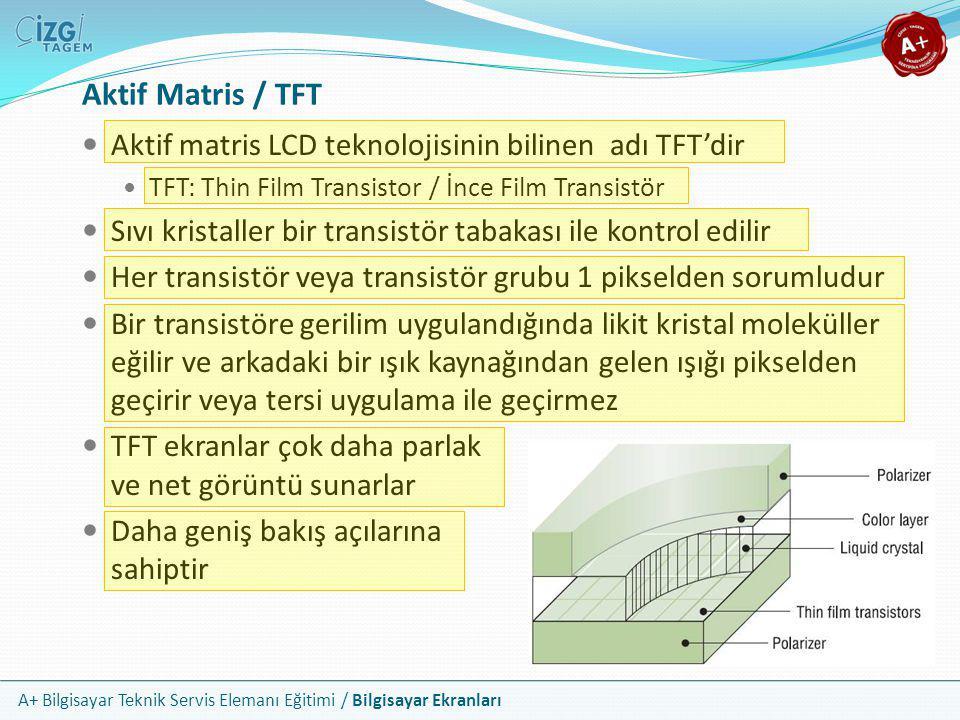 Aktif Matris / TFT Aktif matris LCD teknolojisinin bilinen adı TFT'dir