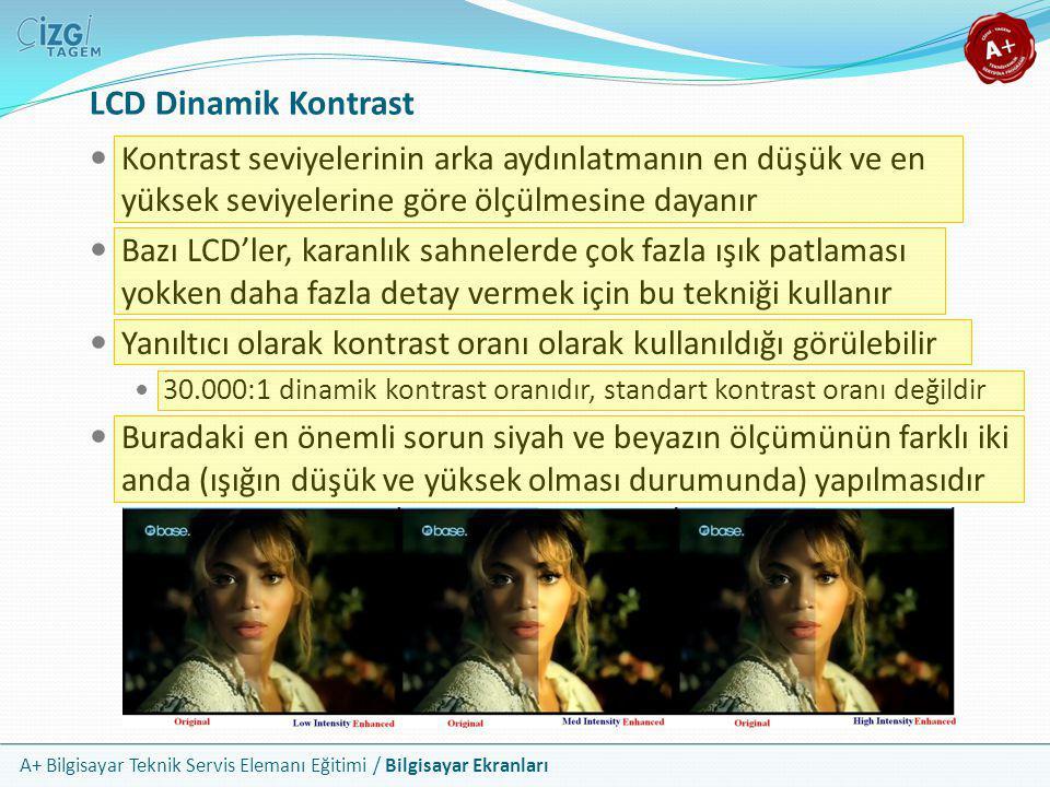 LCD Dinamik Kontrast Kontrast seviyelerinin arka aydınlatmanın en düşük ve en yüksek seviyelerine göre ölçülmesine dayanır.