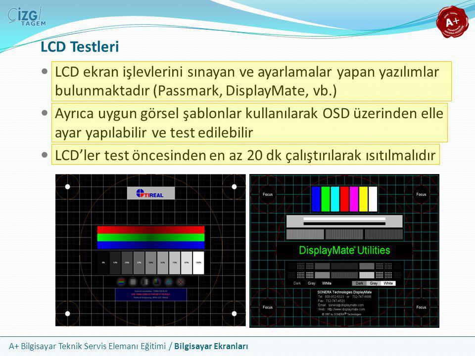 LCD Testleri LCD ekran işlevlerini sınayan ve ayarlamalar yapan yazılımlar bulunmaktadır (Passmark, DisplayMate, vb.)