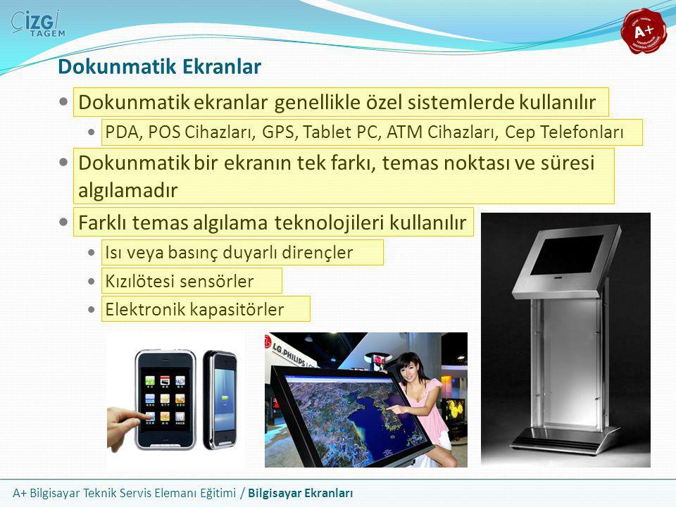 Dokunmatik Ekranlar Dokunmatik ekranlar genellikle özel sistemlerde kullanılır. PDA, POS Cihazları, GPS, Tablet PC, ATM Cihazları, Cep Telefonları.