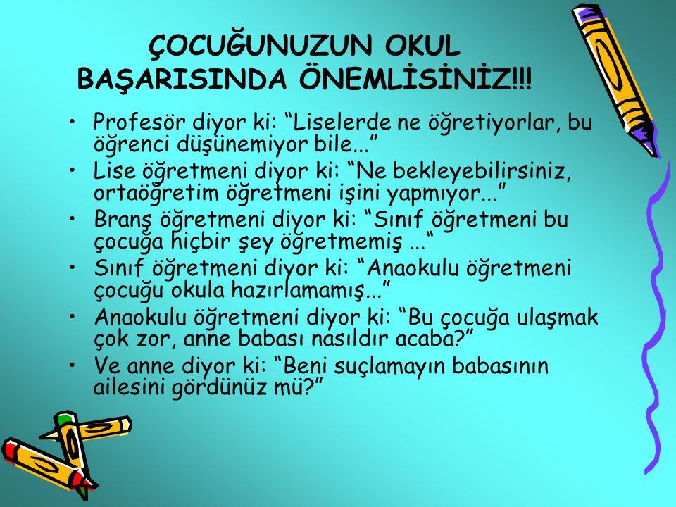 ÇOCUĞUNUZUN OKUL BAŞARISINDA ÖNEMLİSİNİZ!!!
