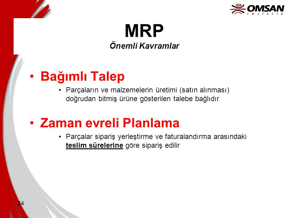 MRP Önemli Kavramlar Bağımlı Talep Zaman evreli Planlama