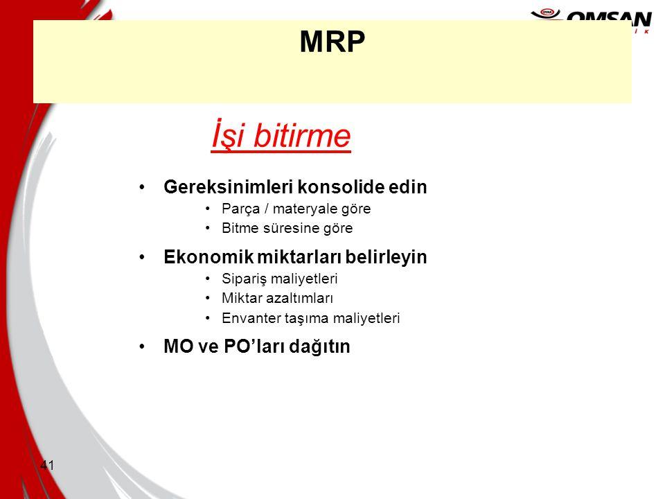 İşi bitirme MRP Gereksinimleri konsolide edin