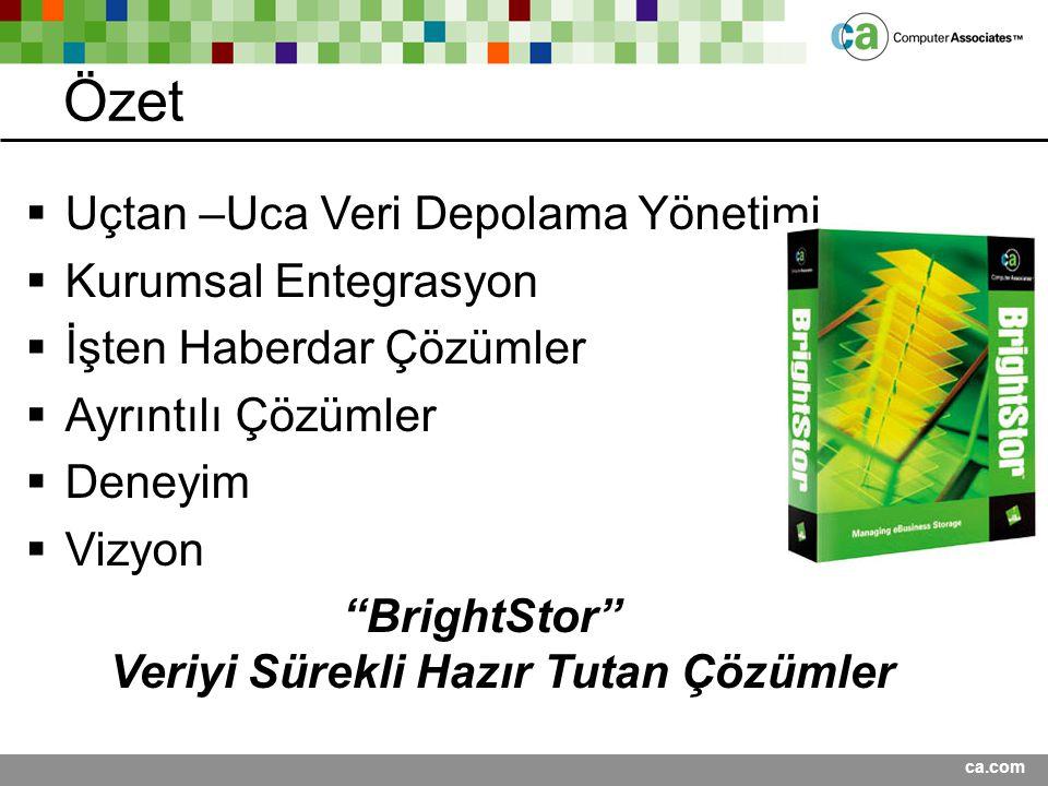 BrightStor Veriyi Sürekli Hazır Tutan Çözümler