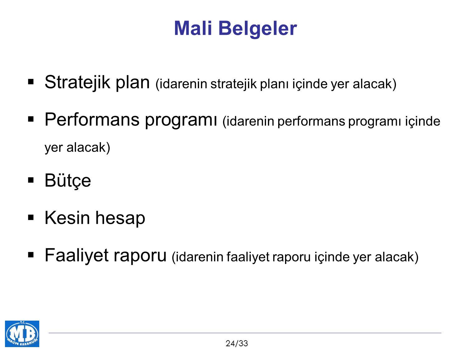 Mali Belgeler Stratejik plan (idarenin stratejik planı içinde yer alacak) Performans programı (idarenin performans programı içinde yer alacak)
