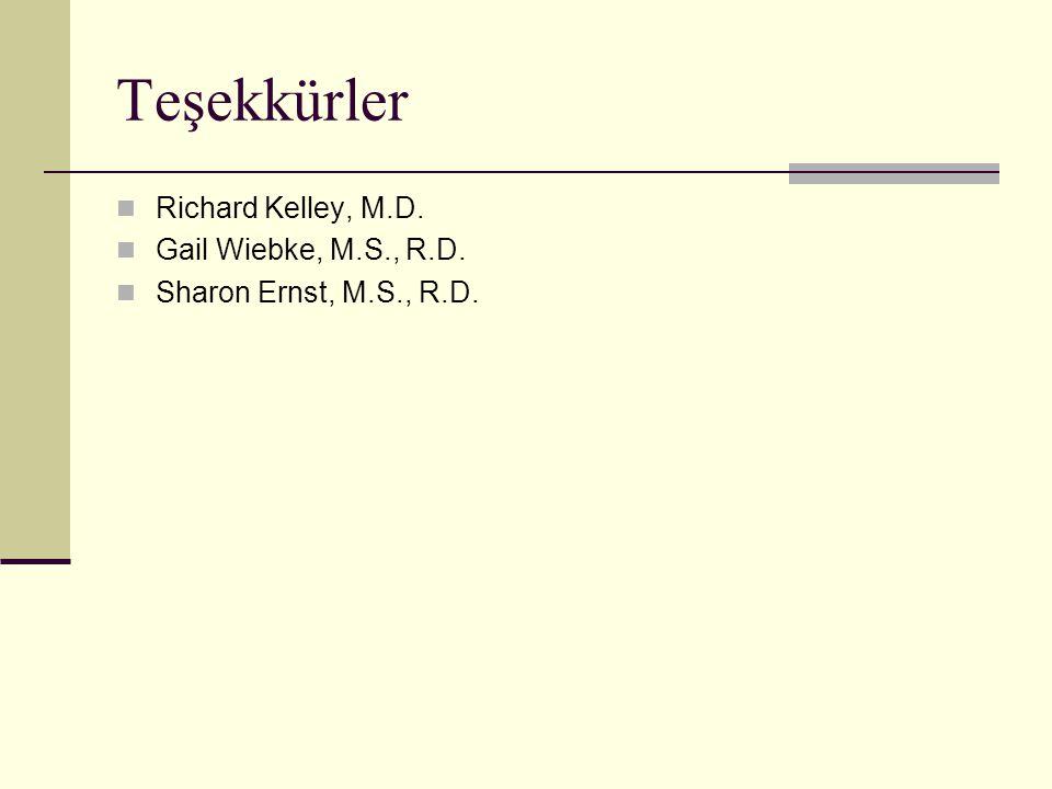 Teşekkürler Richard Kelley, M.D. Gail Wiebke, M.S., R.D.