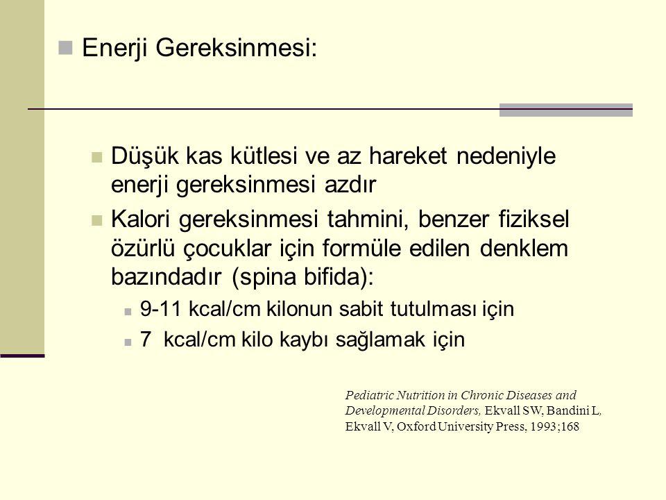 Enerji Gereksinmesi: Düşük kas kütlesi ve az hareket nedeniyle enerji gereksinmesi azdır.