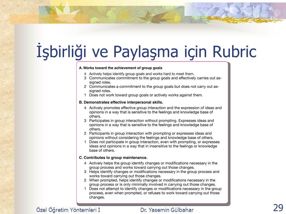 İşbirliği ve Paylaşma için Rubric