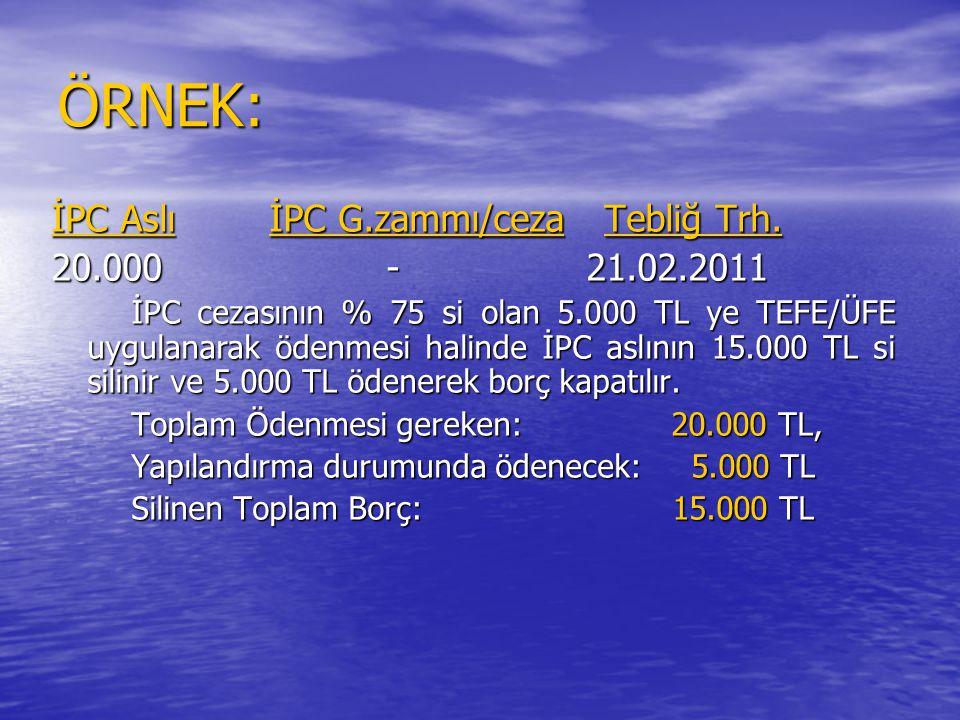 ÖRNEK: İPC Aslı İPC G.zammı/ceza Tebliğ Trh. 20.000 - 21.02.2011
