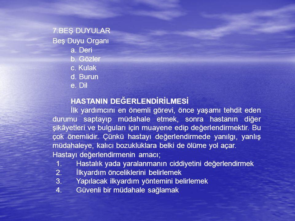7.BEŞ DUYULAR Beş Duyu Organı. a. Deri. b. Gözler. c. Kulak. d. Burun. e. Dil. HASTANIN DEĞERLENDİRİLMESİ.