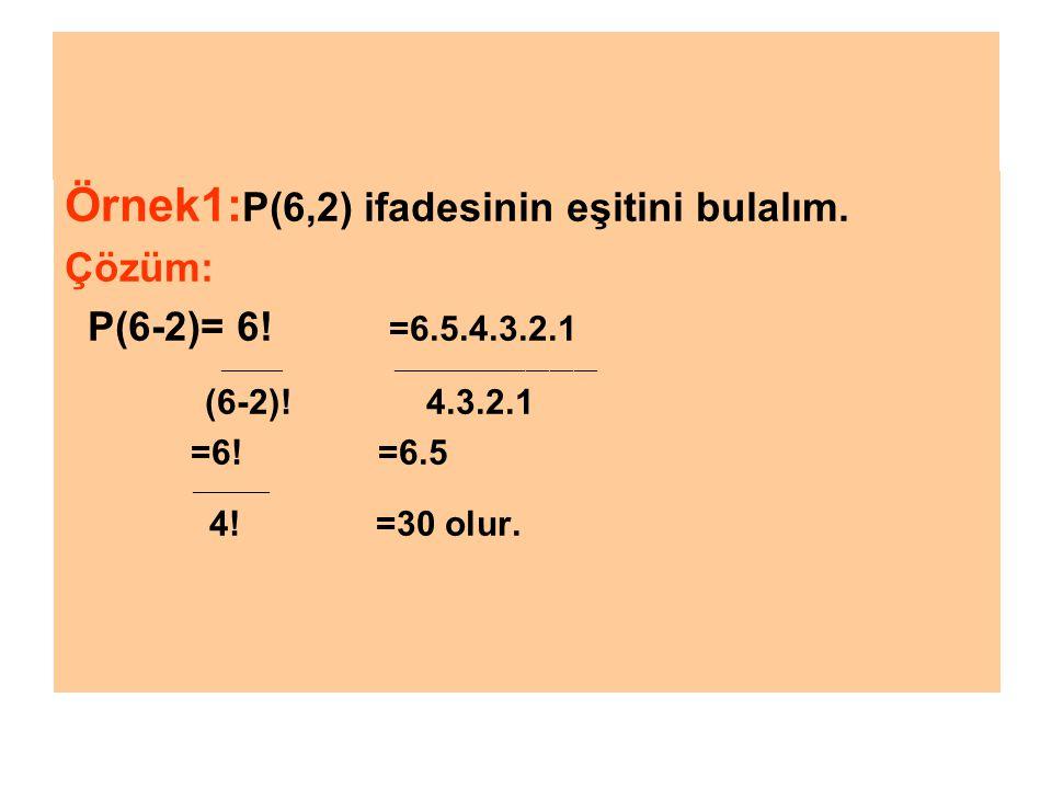 Örnek1:P(6,2) ifadesinin eşitini bulalım.