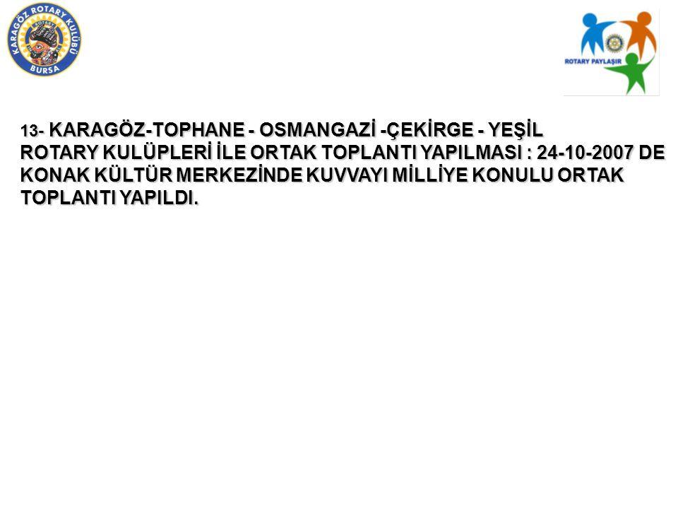 13- KARAGÖZ-TOPHANE - OSMANGAZİ -ÇEKİRGE - YEŞİL