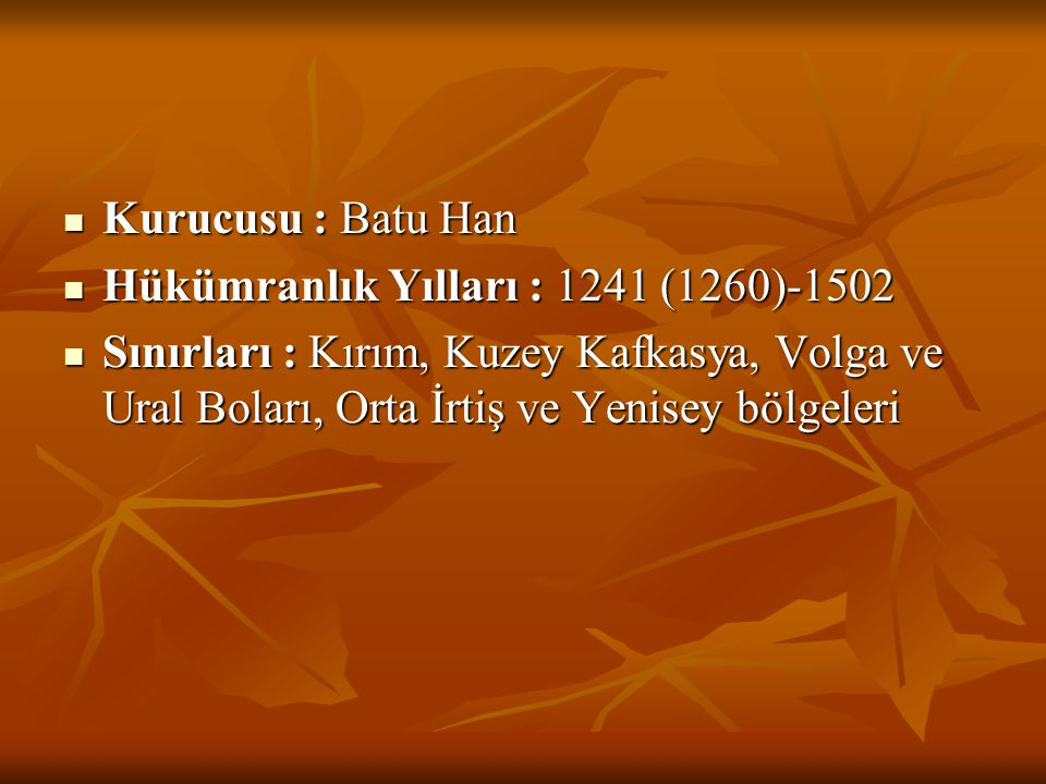 Kurucusu : Batu Han Hükümranlık Yılları : 1241 (1260)-1502.