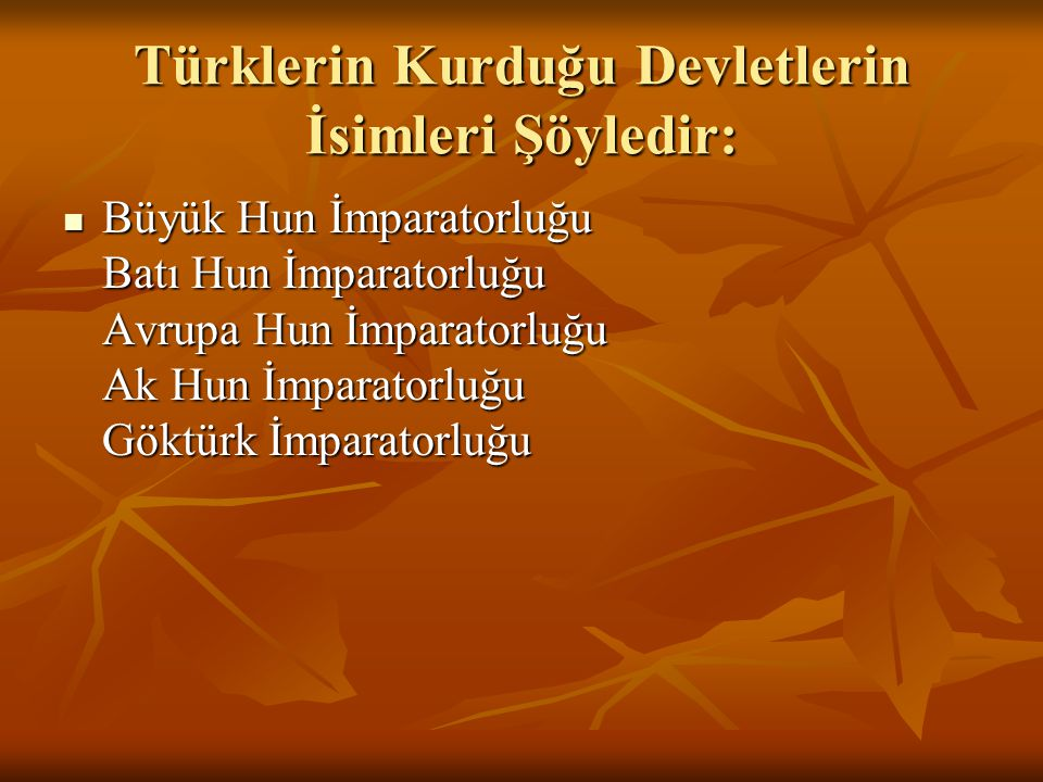 Türklerin Kurduğu Devletlerin İsimleri Şöyledir: