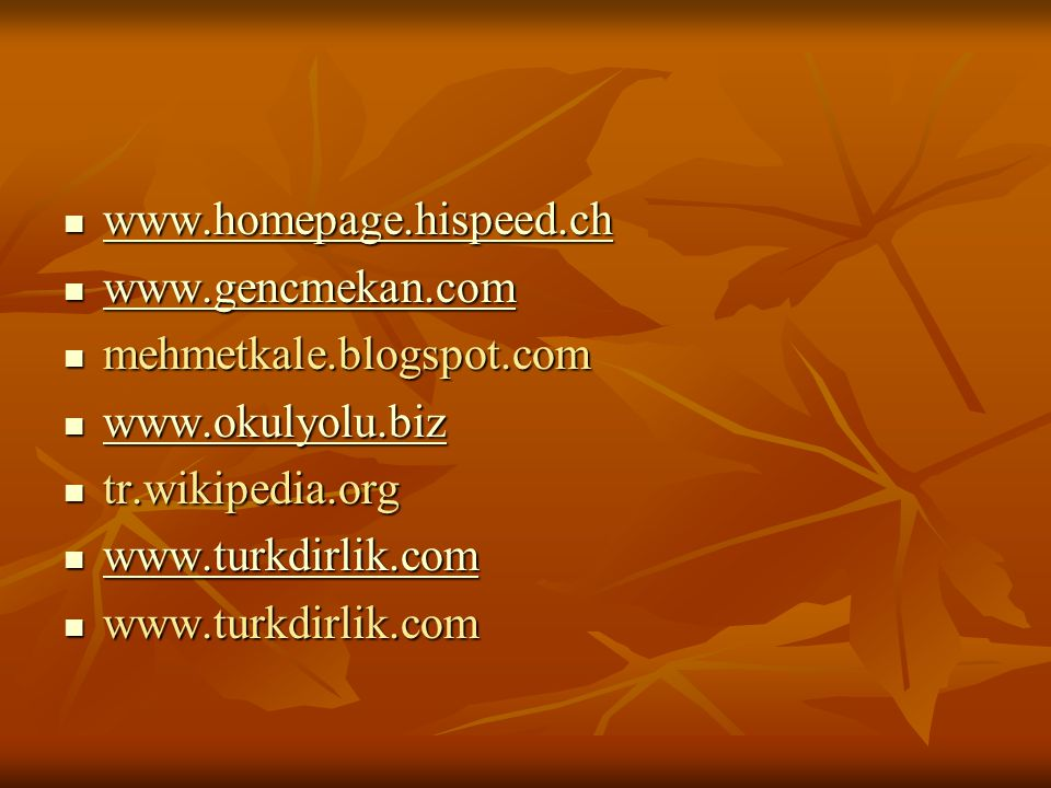 www.homepage.hispeed.ch www.gencmekan.com. mehmetkale.blogspot.com. www.okulyolu.biz. tr.wikipedia.org.