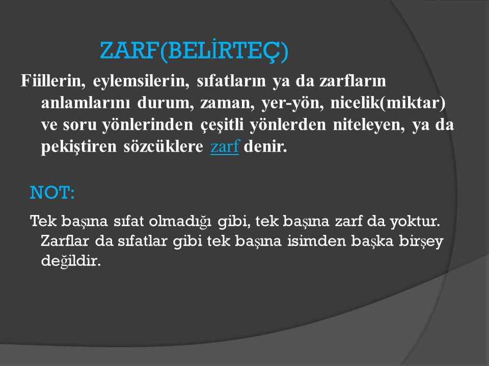 ZARF(BELİRTEÇ)