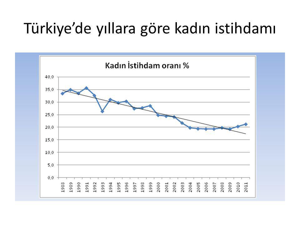 Türkiye'de yıllara göre kadın istihdamı