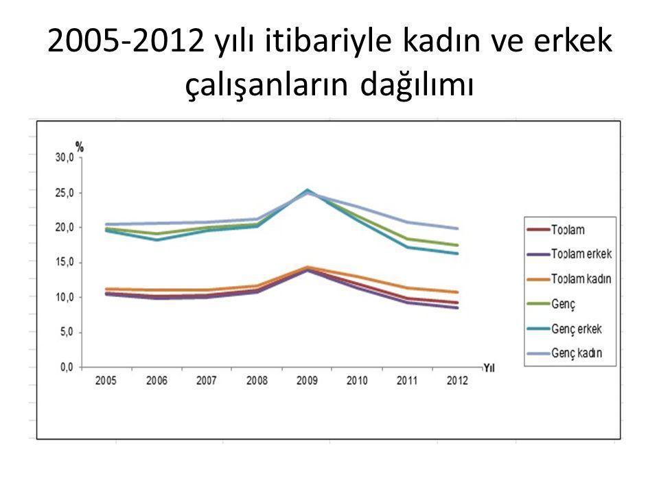 2005-2012 yılı itibariyle kadın ve erkek çalışanların dağılımı