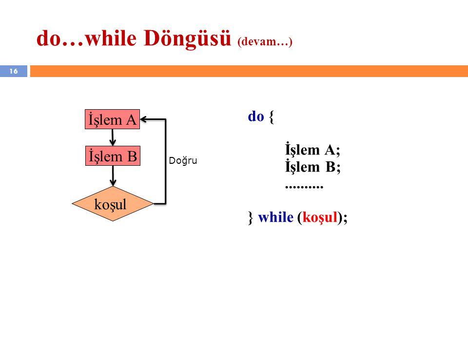 do…while Döngüsü (devam…)