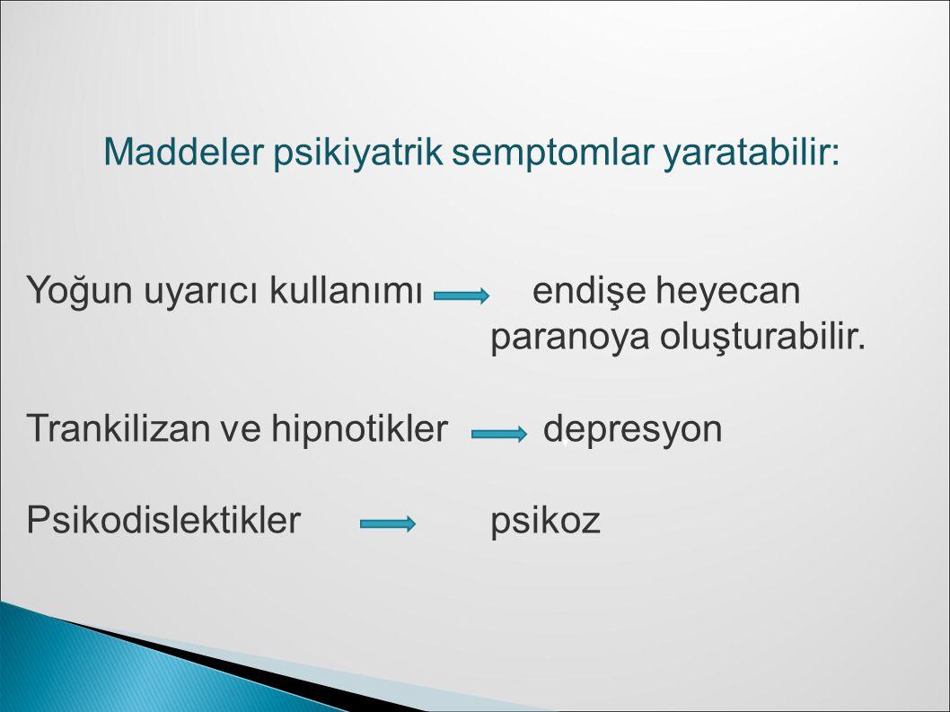 Maddeler psikiyatrik semptomlar yaratabilir: