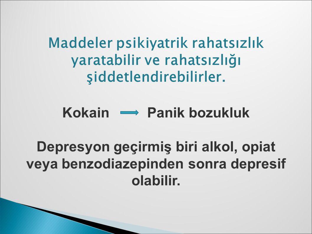 Maddeler psikiyatrik rahatsızlık yaratabilir ve rahatsızlığı şiddetlendirebilirler. Kokain Panik bozukluk