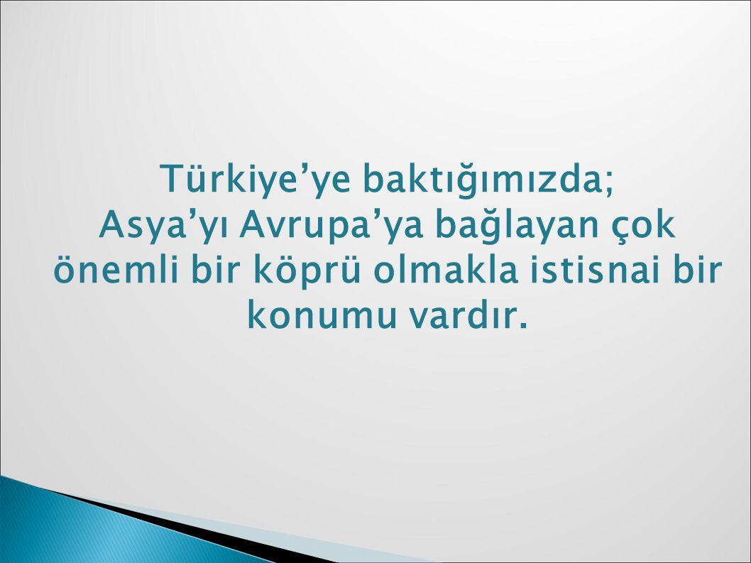 Türkiye'ye baktığımızda; Asya'yı Avrupa'ya bağlayan çok önemli bir köprü olmakla istisnai bir konumu vardır.