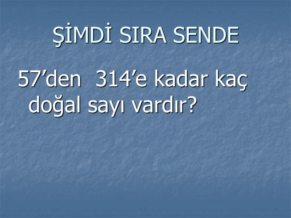 ŞİMDİ SIRA SENDE 57'den 314'e kadar kaç doğal sayı vardır