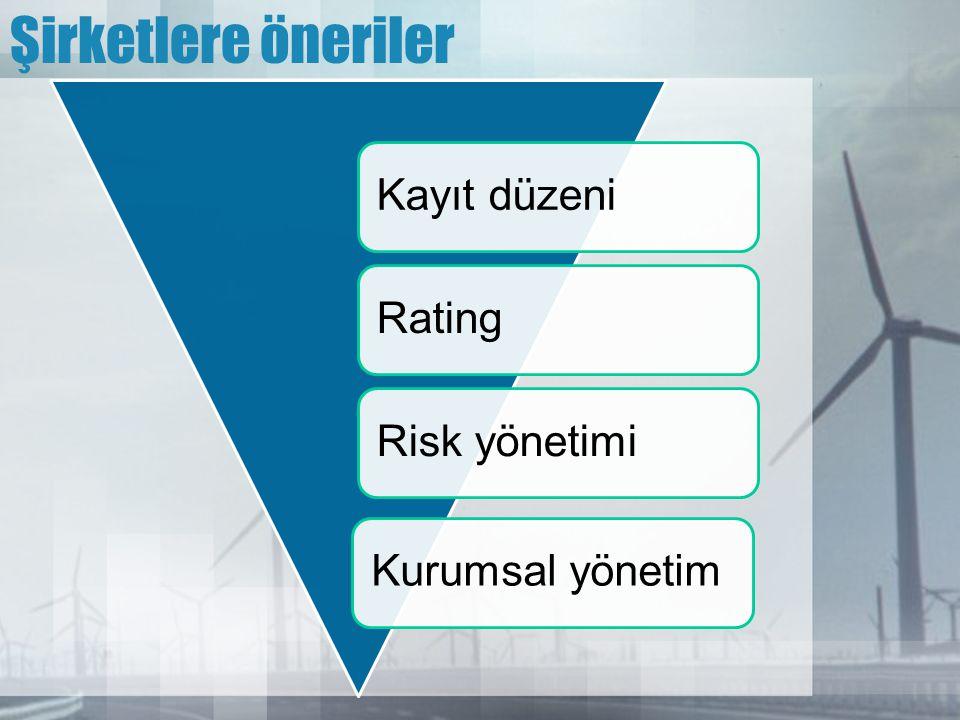 Şirketlere öneriler Kayıt düzeni Rating Risk yönetimi Kurumsal yönetim