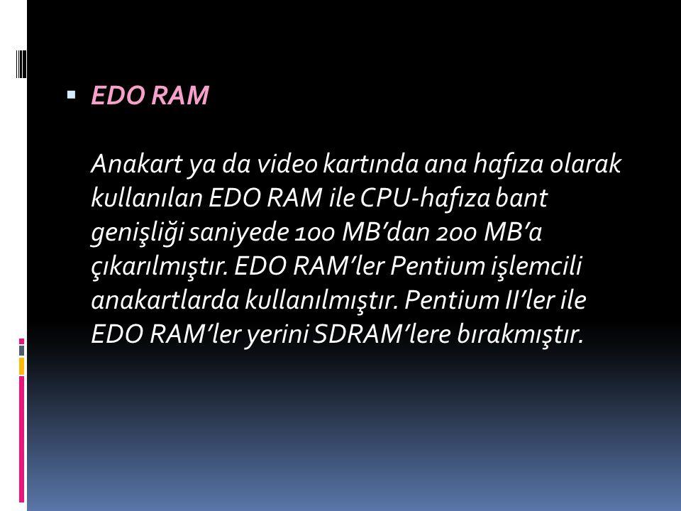 EDO RAM Anakart ya da video kartında ana hafıza olarak kullanılan EDO RAM ile CPU-hafıza bant genişliği saniyede 100 MB'dan 200 MB'a çıkarılmıştır.