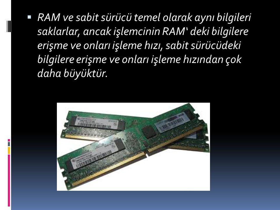 RAM ve sabit sürücü temel olarak aynı bilgileri saklarlar, ancak işlemcinin RAM' deki bilgilere erişme ve onları işleme hızı, sabit sürücüdeki bilgilere erişme ve onları işleme hızından çok daha büyüktür.