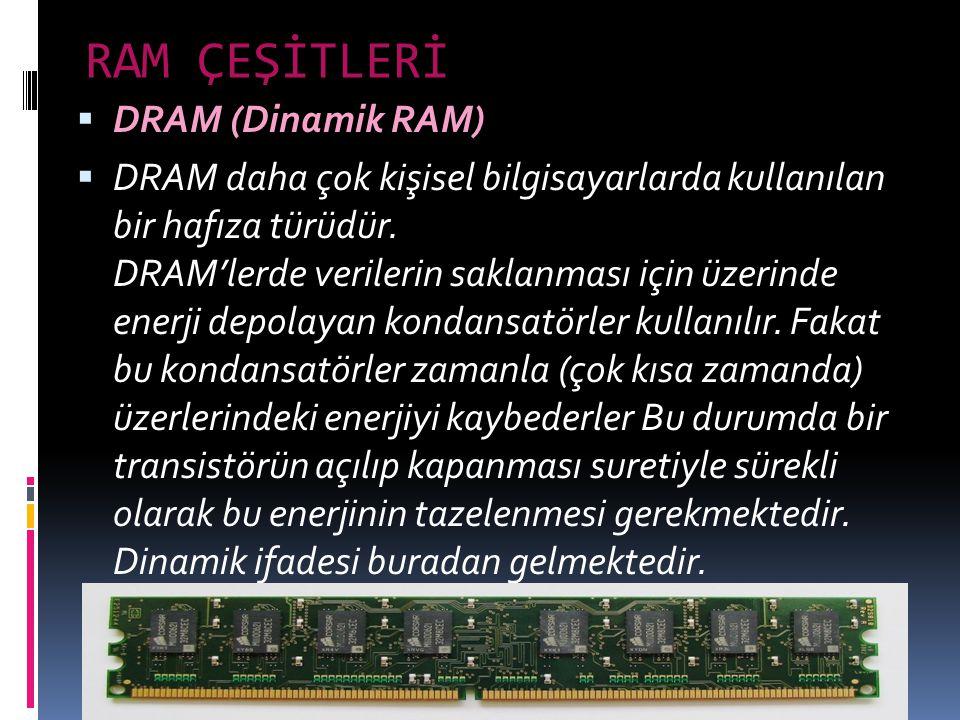 RAM ÇEŞİTLERİ DRAM (Dinamik RAM)