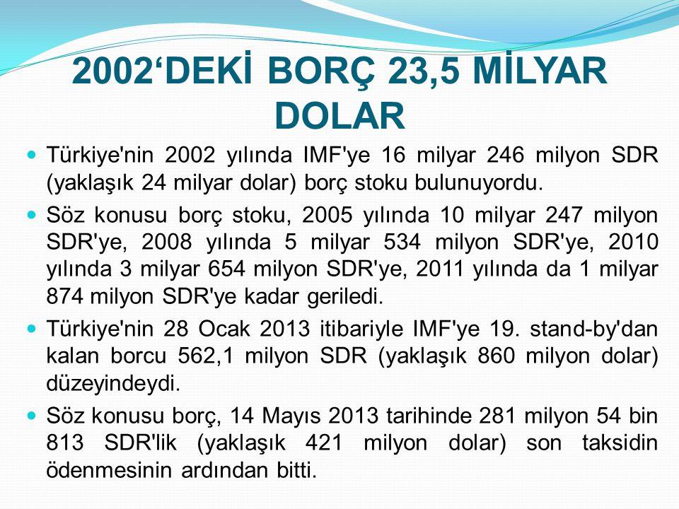 2002'DEKİ BORÇ 23,5 MİLYAR DOLAR