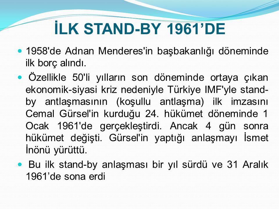İLK STAND-BY 1961'DE 1958 de Adnan Menderes in başbakanlığı döneminde ilk borç alındı.