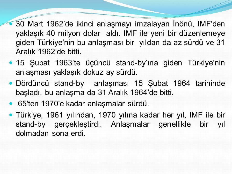 30 Mart 1962'de ikinci anlaşmayı imzalayan İnönü, IMF den yaklaşık 40 milyon dolar aldı. IMF ile yeni bir düzenlemeye giden Türkiye'nin bu anlaşması bir yıldan da az sürdü ve 31 Aralık 1962'de bitti.