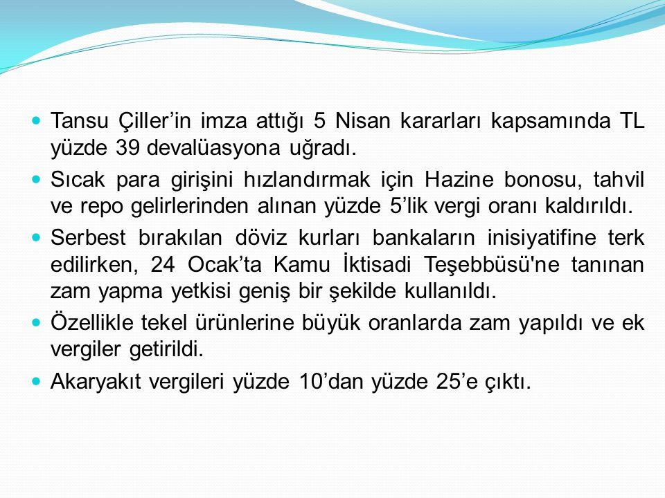 Tansu Çiller'in imza attığı 5 Nisan kararları kapsamında TL yüzde 39 devalüasyona uğradı.