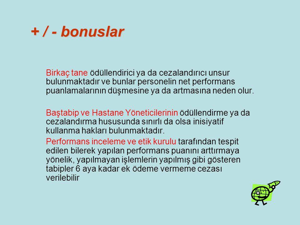 + / - bonuslar